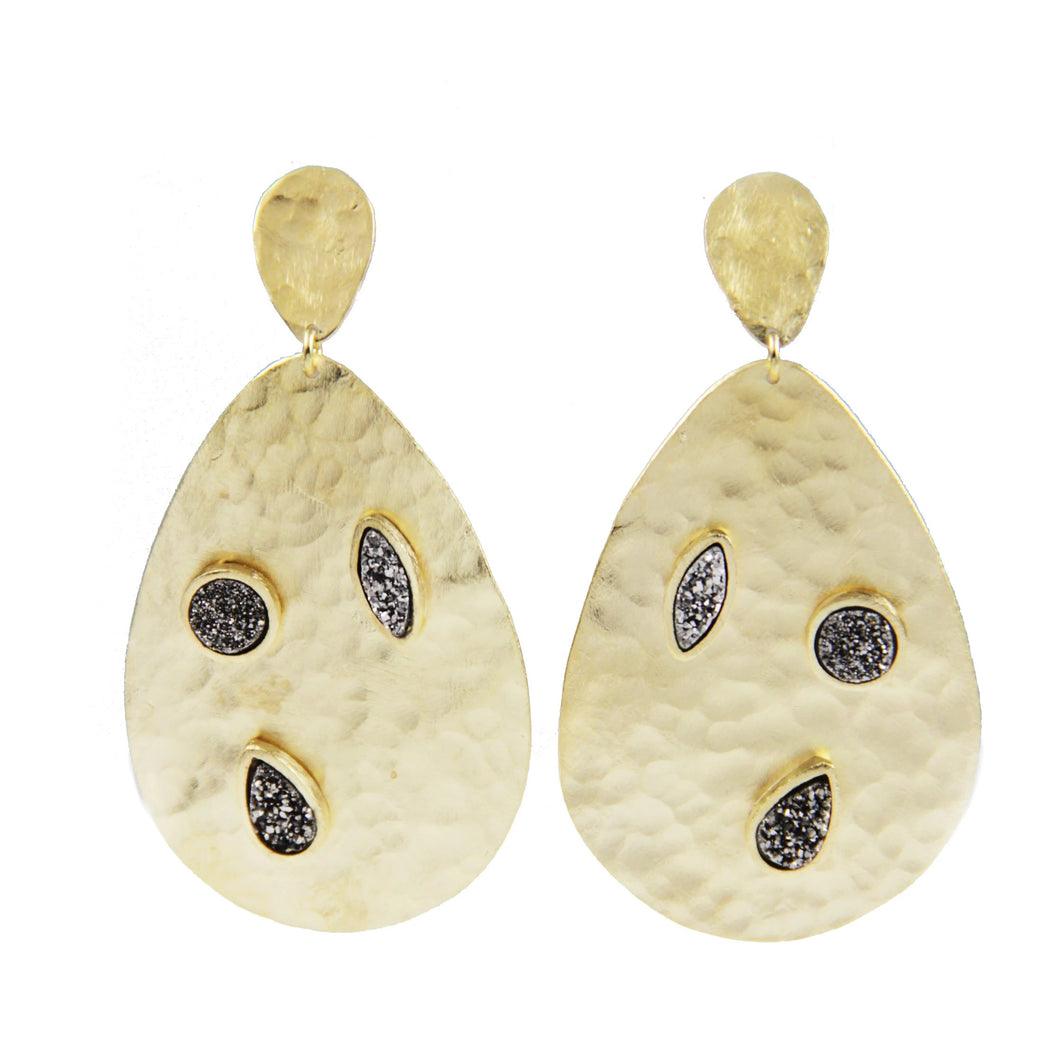 Marcia Moran 18k plated statement drop earrings with titanium druzy details