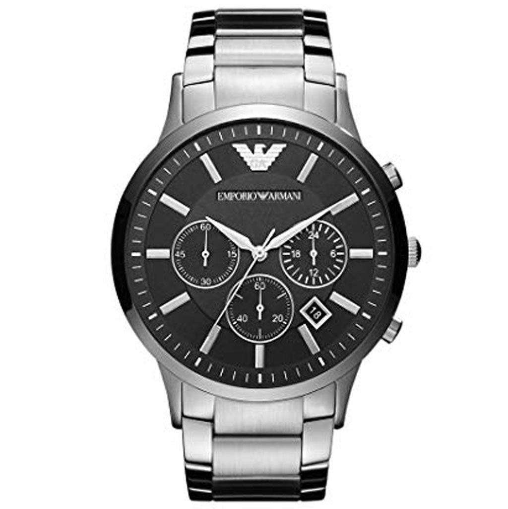 Emporio Armani Men's AR 2460 Black Dial Silver Watch Steel Umisfashion Store