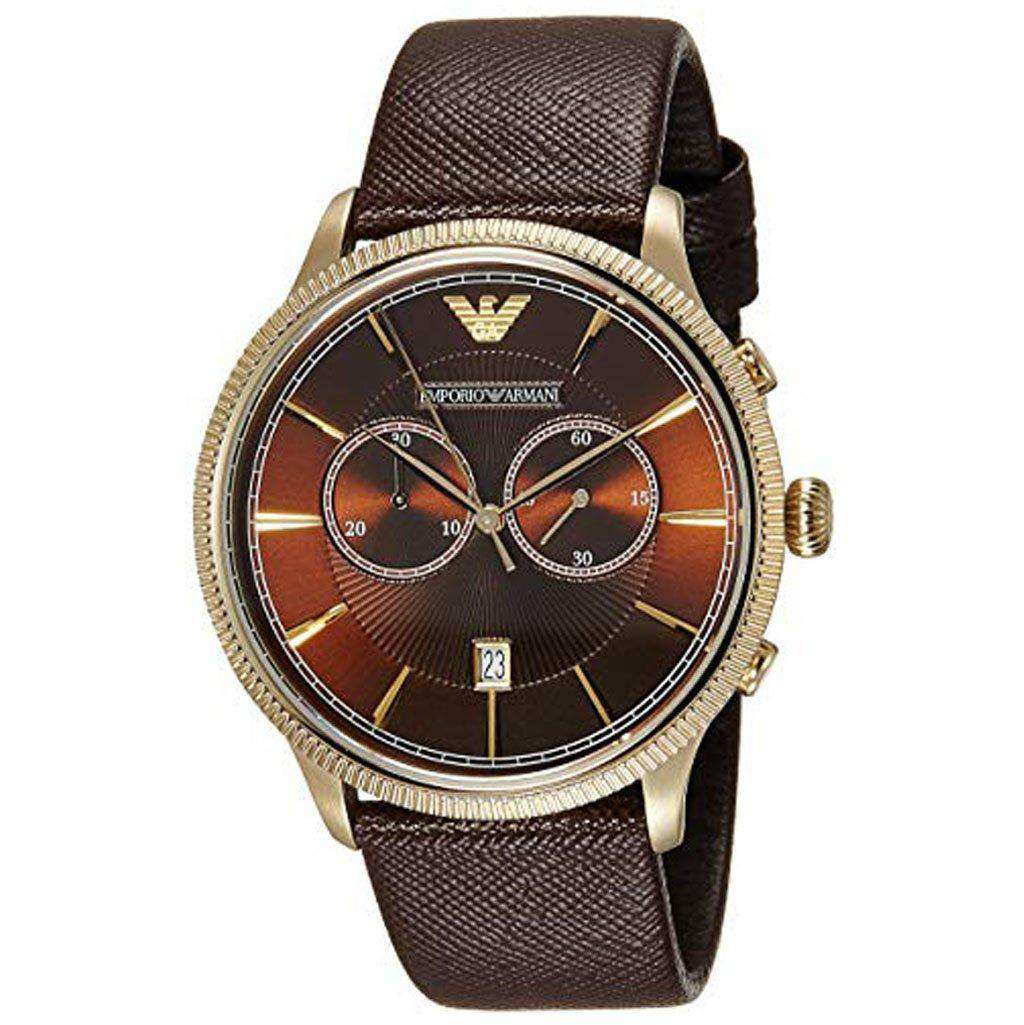 Emporio Armani Men's AR 1793 Brown Leather Watch Steel Umisfashion Store
