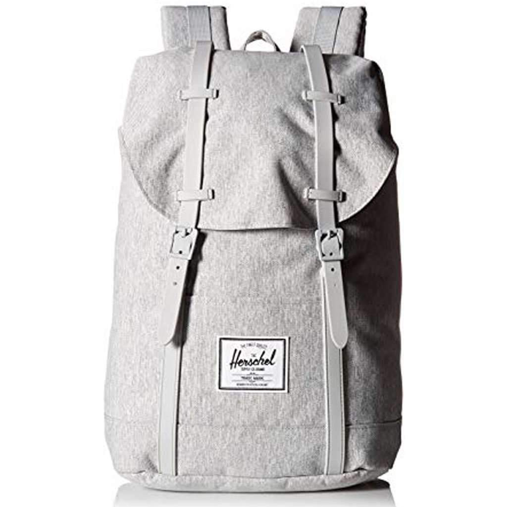 Herschel Retreat Backpack Light Crosshatch/Grey Rubber Leather Umisfashion Store