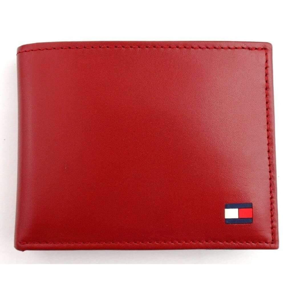 Tommy Hilfiger Men's Red Leather Passcase Billfold Wallet Accessories Umisfashion Store