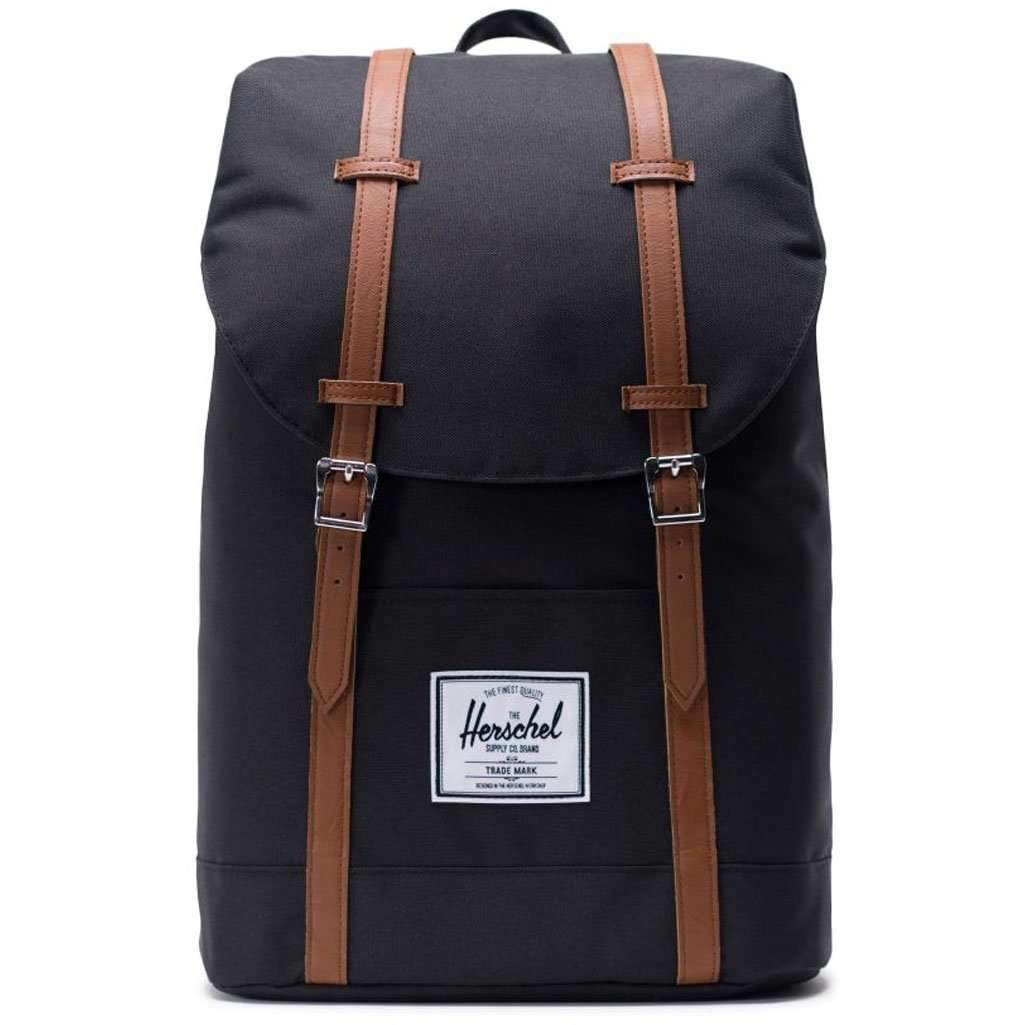 Herschel Retreat Backpack - Black/Tan Leather Synthetic Umisfashion Store