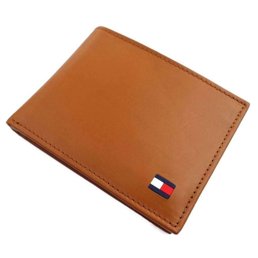 Tommy Hilfiger Men's Tan Leather Passcase Billfold Wallet Accessories Umisfashion Store