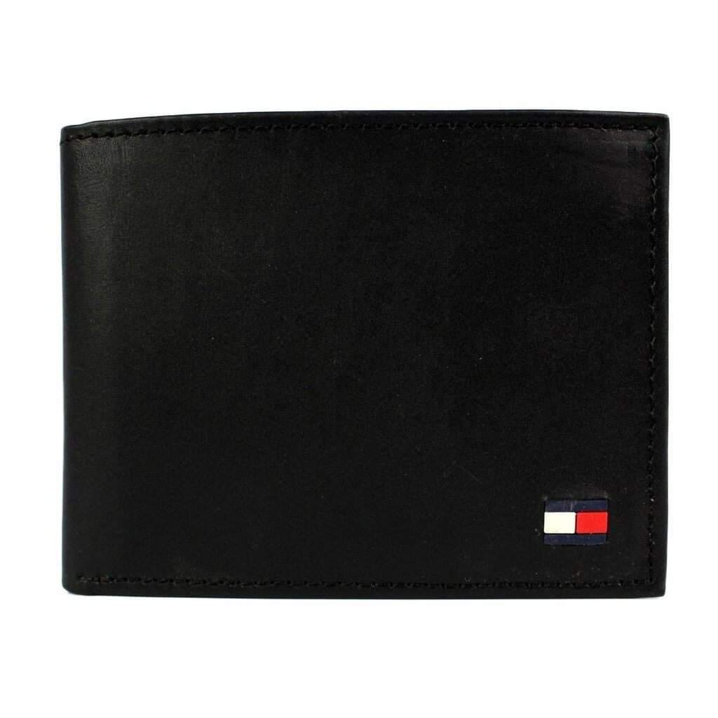 Tommy Hilfiger Men's Black Leather Passcase Billfold Wallet Accessories Umisfashion Store