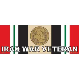 IRAQ WAR VETERAN MEDAL/RIBBON BUMPER STICKER