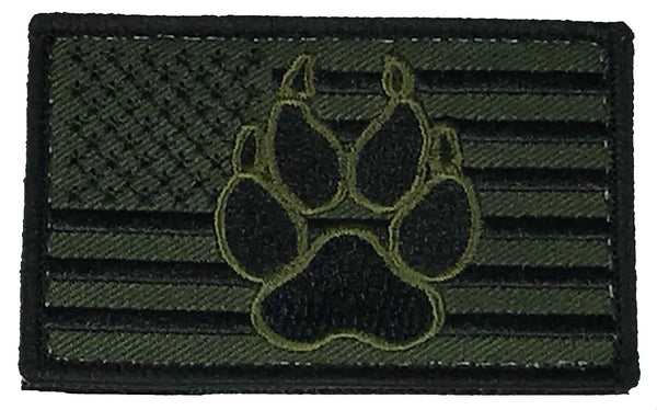 OD GREEN AMERICAN FLAG DOG PAW PATCH W/ HOOK AND LOOP BACKING