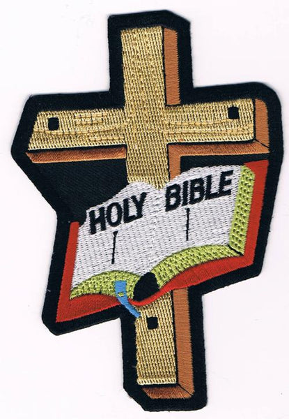Holy Bible Open With Cross Patch