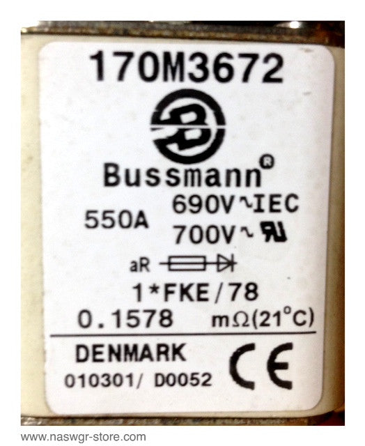 170M3672 , Bussmann 170M3672 Fuse with Overload , 550A , 690V IEC , 0.1558 , Denmark 010301 / D0002 , PN: 170M3672
