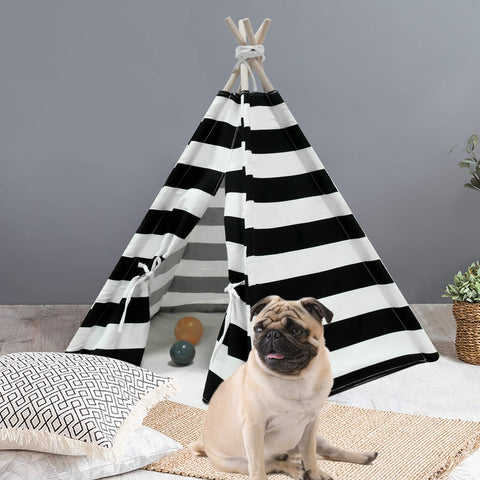 Pet Teepee with Mat - Black & White Stripe