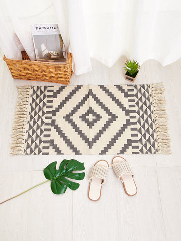 Woven Tassel Accent Rug
