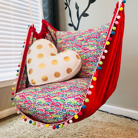Hammock Chair Swing with Rainbow Pom Pom Trim -Double Sided/Lined