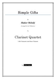 Melody - Simple Gifts - Clarinet Quartet