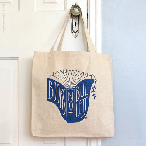 Books Not Bullets Tote Bag - Yellow Pencil Studio