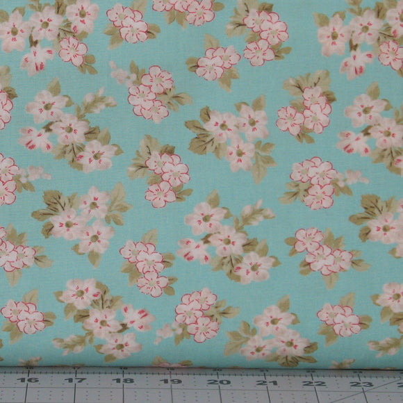 White Flower Blossoms on Teal Green Background from the Aubrey Collection by Whistler Studios for Windham Fabrics, 42648-2
