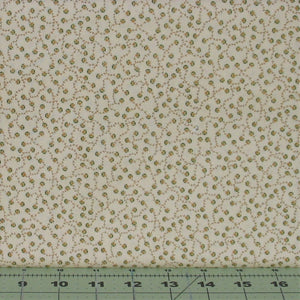 Small Gold and Green Design on Cream from the Helping Hands Collection by Kim Diehl for Henry Glass Fabrics, 6877-44