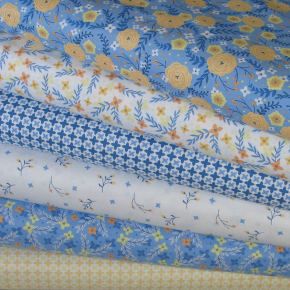 6 Floral Fabrics in Blue, White, Yellow and Orange from Do What You Love Collection by Alisse Courter for Camelot Fabrics