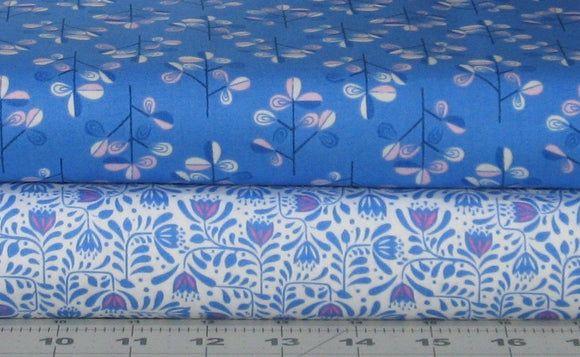 Two Coordinating Pink, Blue and White Floral Fabrics from the Hann's House by Lewis & Irene Fabrics