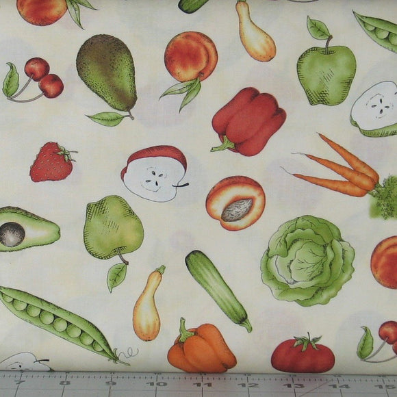 Tossed Fruits & Veggies in Natural from the From the Farm Collection by Maywood Studio, 8283-E