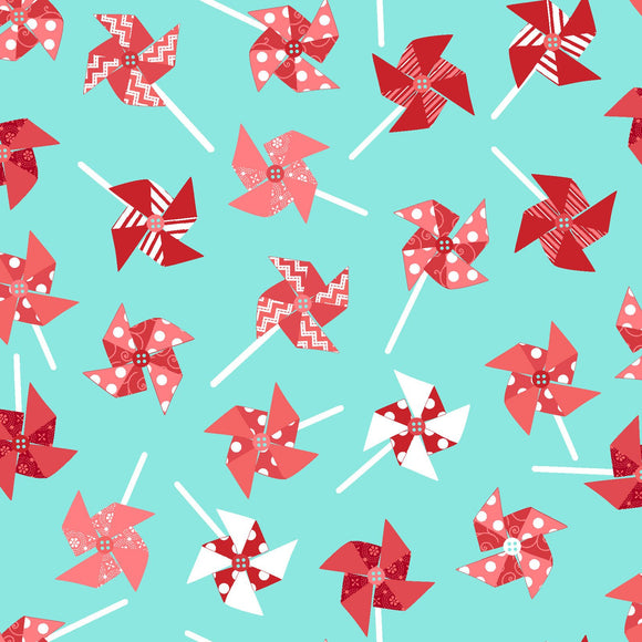 Pinwheels in Aqua from the Sprinkle Sunshine Collection by Kimberbell Designs for Maywood Studio, 8252-Q