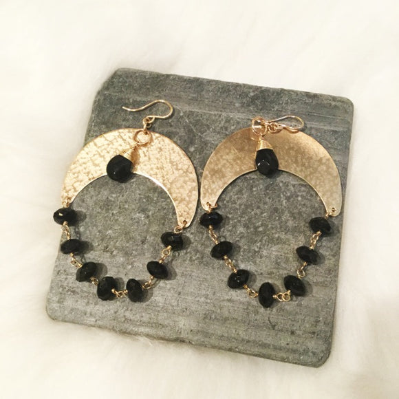 Onyx Gold Filled Hoops