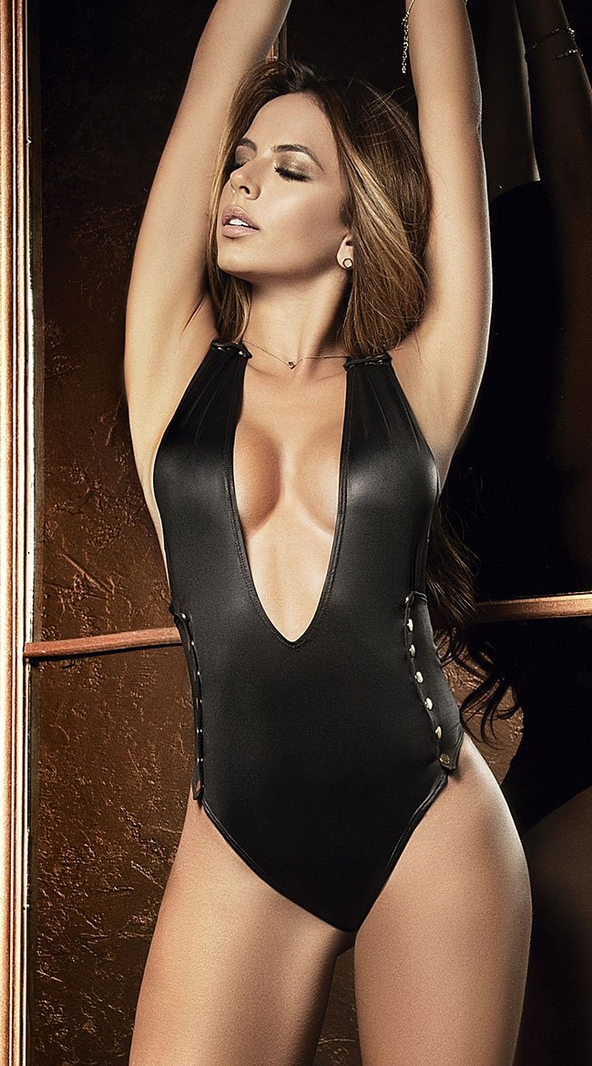Mapale Black Wet Look Studded Bodysuit