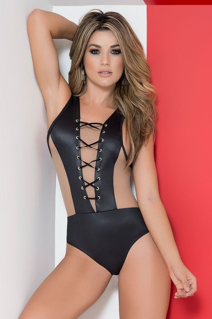 Mapale Mapale Bodysuit UK 6-8 / Black Wet Look Bodysuit with Lace Up Detail