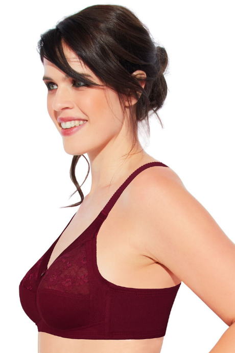 Enamor Full Support Cotton Bra - Red | BeeBabe.com