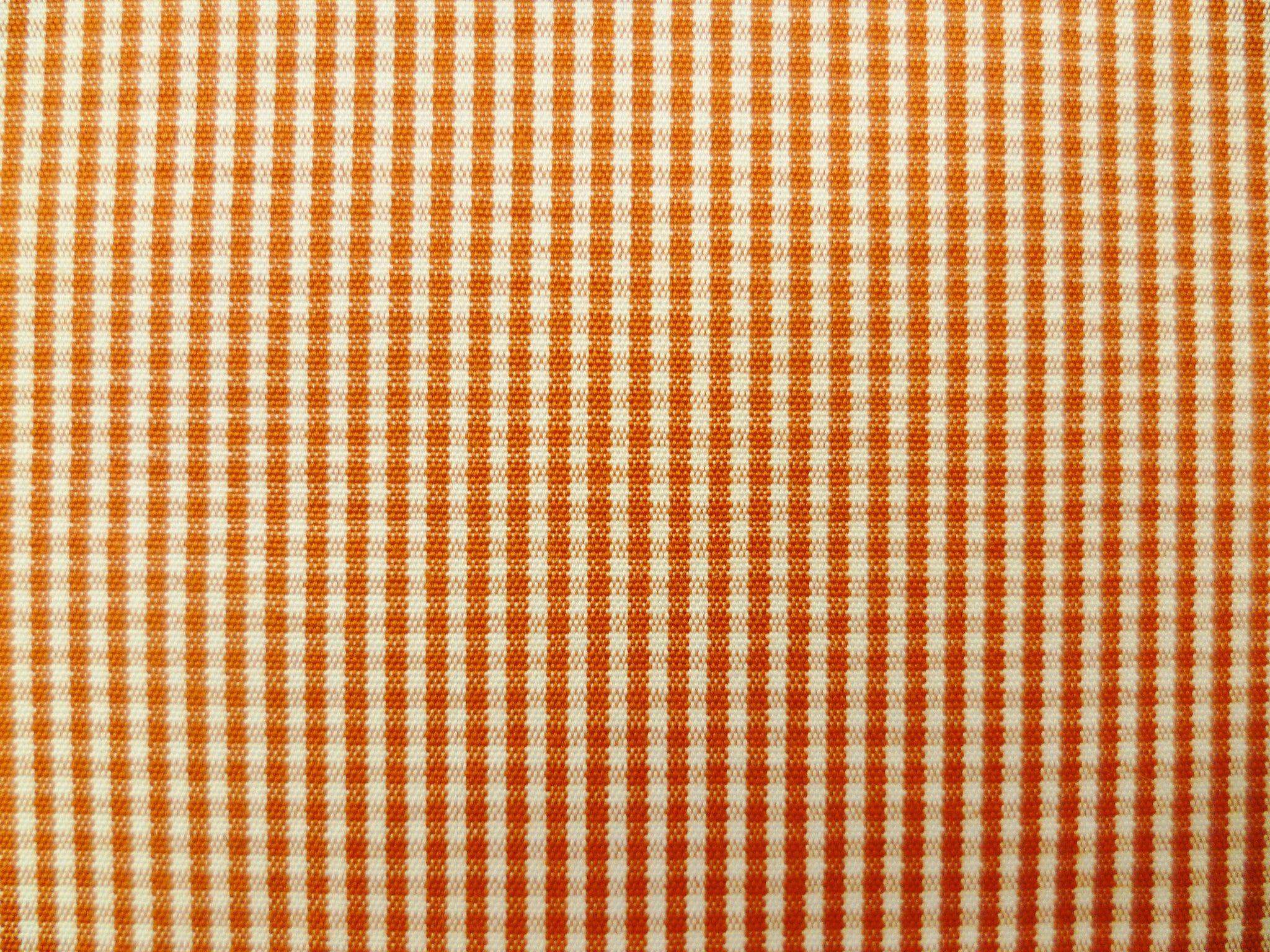 Red-Orange and White Gingham Checked Cotton