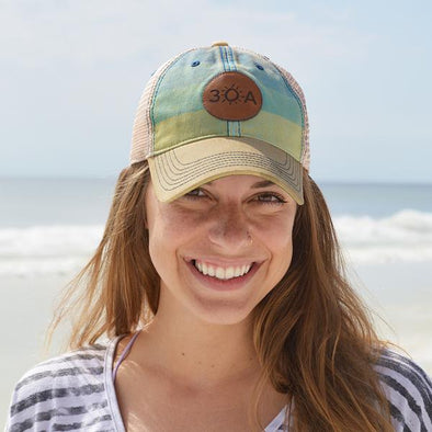 30A Stripe Leather Patch Hat