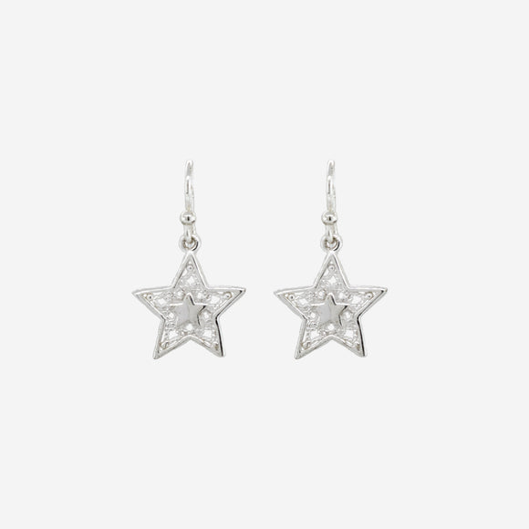 Open Star Drop Earrings with Rope Design