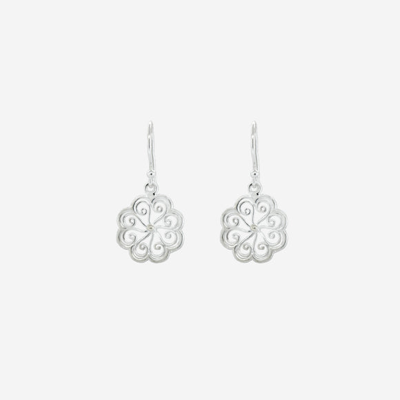 Small Open Swirl Flower Drop Earrings