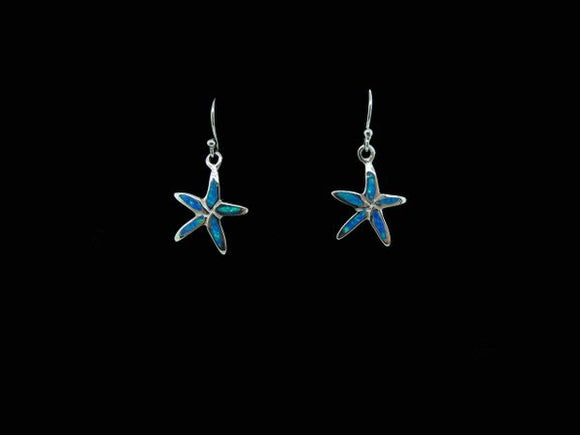 Blue Created Opal Star Fish Earrings