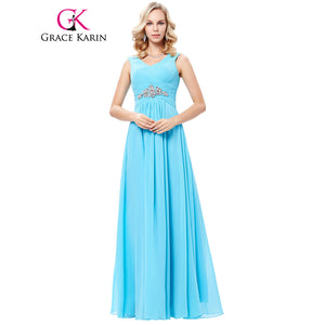 Grace Karin Shoulder Straps V Neck Chiffon Long Bridesmaid Dresses Wedding Party Gowns Cheap Vestidos Crystal Formal Dress 2018