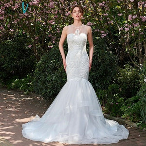 Dressv long ivory wedding dress scoop neck mermaid bridal gown elegant court train outdoor&church beading wedding dresses