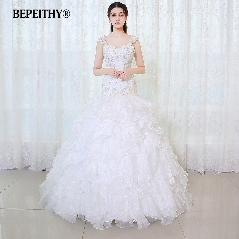 BEPEITHY Vintage Mermaid Wedding Dress Vestidos De Novia 2017 Ruffles Skirt Lace Beaded Bridal Gown New Arrival