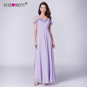 Lilac Dress For Wedding Party Ever Pretty EP07414LL Elegant A Line Long Chiffon Bridesmaid Dresses Vestidos De Damas De Honor