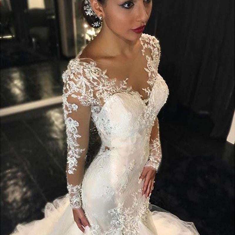 Elegant Sexy White Lace Fishtail Slim Wedding Dress Trailing Bridal Wedding Dress