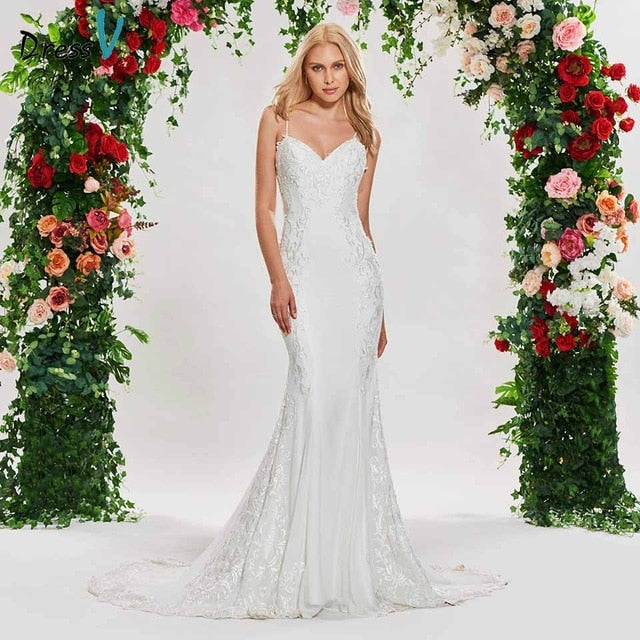 Dressv ivory lace elegant mermaid wedding dress spaghetti straps lace-up floor length bridal outdoor&church wedding dresses