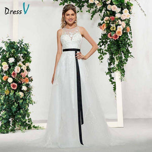 Dressv elegant ivory scoop neck button sleeveless lace a line wedding dress floor length simple bridal gowns wedding dress