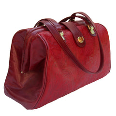 Watson in Paprika Floral & Cherry Leather