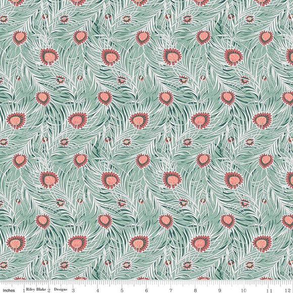04775653Y The Hesketh House Collection Pipers Peacock in Light Green from Liberty of London at Pink Castle Fabrics