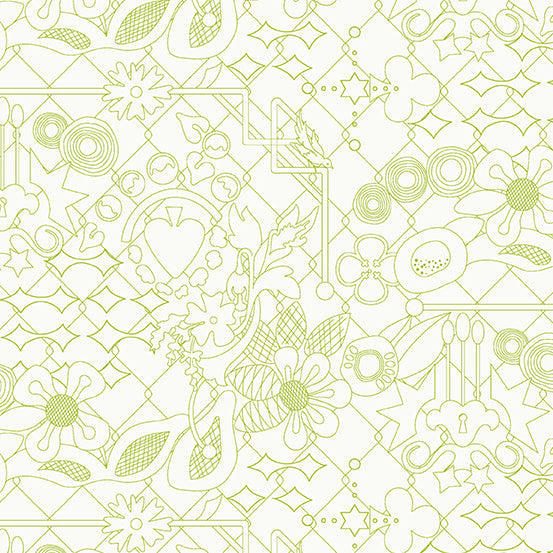 A-8482-G Sun Print Light Overgrown in Pear by Alison Glass for Andover Fabrics from Pink Castle Fabrics
