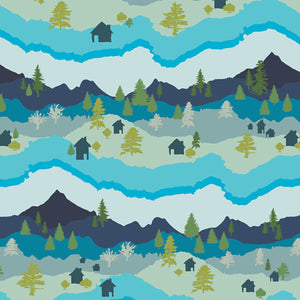 CTR-24911 Catch & Release Mountain Scape by Mathew Boudreaux for Art Gallery Fabrics from Pink Castle Fabrics