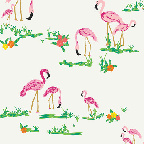 WPA-54502 West Palm Flamingo Field in Pearl by Katie Skoog for Art Gallery Fabrics from Pink Castle Fabrics