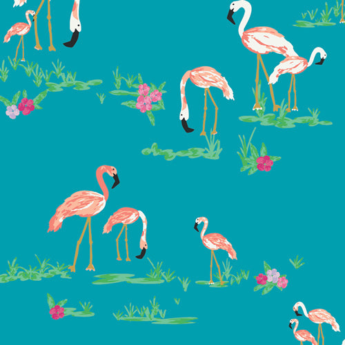 WPA-64502 West Palm Flamingo Field in Marina by Katie Skoog for Art Gallery Fabrics from Pink Castle Fabrics