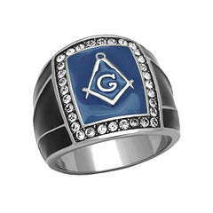 Masonic Blue - Blue Enamel and Top Grade Crystal Stainless Steel Masonic Symbol Ring