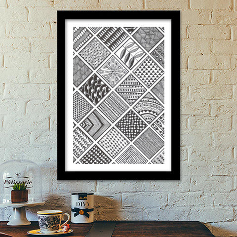 Prints in Squares Premium Italian Wooden Frames | Artist : Aniket Mitra