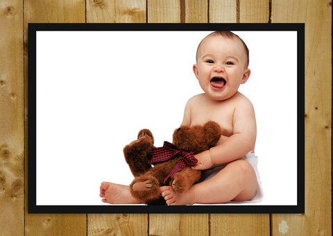 Glass Framed Posters, Baby Teddy Bear Glass Framed Poster, - PosterGully - 1
