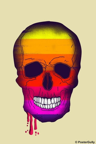 Wall Art, Bleeding Rainbow Skull Artwork, - PosterGully