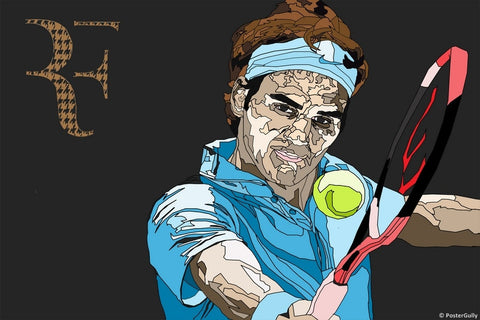 Wall Art, Roger Federer Blue Art, - PosterGully